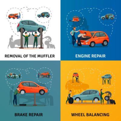 Car Service Concept Icons Set